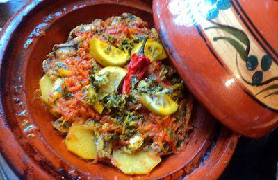 Tagine aux anchois et pommes de terre.طاجين شطون بالبطاطا