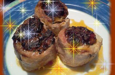 Roulade de dinde farcie aux épinards et champignons à la crème