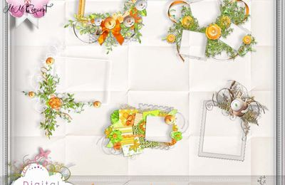 Cluster Scrapbook Paper Orange