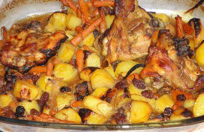 Cuisses de poulet et pomme de terre au raisin et miel au four