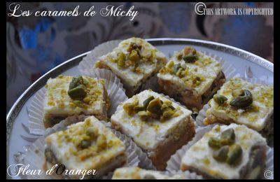 Caramels choco blanc et pistaches de Micky