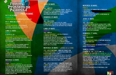 Programme du Festival Printemps Palestine 2011 - interfacs