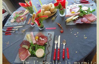 Assiette anglaise de Marmite Junior et sa table colorée rouge