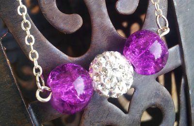 Sautoir perles de verre craquelé et strass argenté