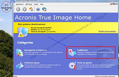 Modifier les options de Try et Decide d'acronis true image 2011