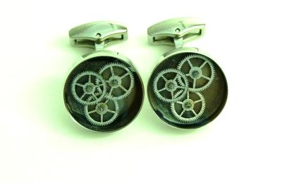 Boutons de manchettes mécanique inclusion / inclusion gears cufflinks - Gris Quartz