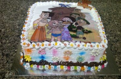 Eggless Black Forest Chota Bheem Cake