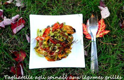 Tagliatelle Agli Spinaci Aux Légumes Grillés Et Graines De Citrouille