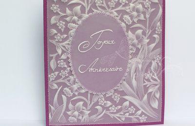 """Carte """"joyeux anniversaire"""" sur papier pergamano"""