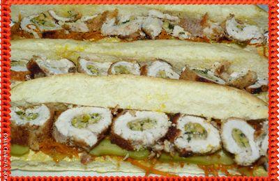 Roulé de poulet en sandwich