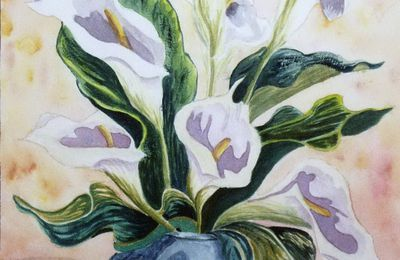 BOUQUET D'ARUMS (aquarelle)