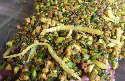 Filet mignon en croûte de pistaches,purée de celeri