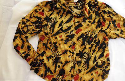 chemise velours vintage imprimé animalier L - NON DISPONIBLE