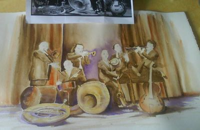 Aquarelle de musiciens, d'après photo (4), mise en couleur