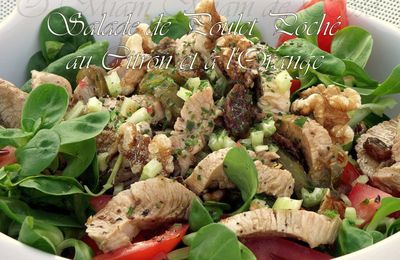 SALADE DE POULET POCHE AU CITRON / ORANGE ET FRUITS SECS