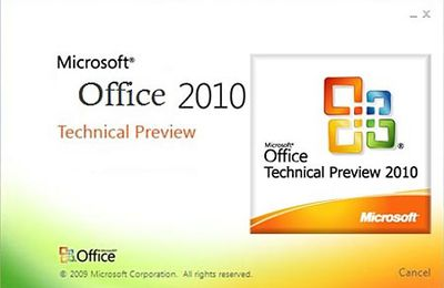 Microsoft Office 2010 Technical Preview 32 bits.