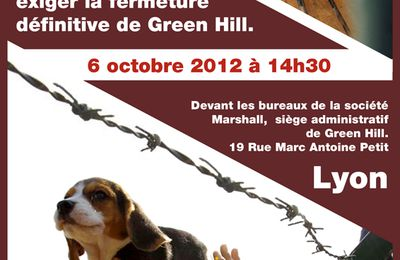 En soutien à Green Hill, symbole de l'anti vivisection. Lyon 6 Octobre