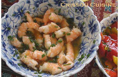 Crevettes marinées à l'ail et à la ciboulette