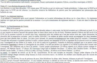Compte rendu du 1er conseil de l'école Jean Piaget de Houilles