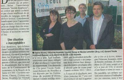 Article du courrier des Yvelines sur une demande de CLIS à Houilles, spécialisée dans les troubles sérieux du langage.