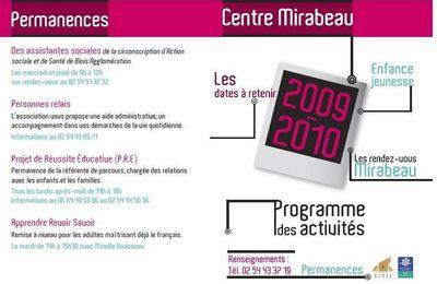Programme 2009-2010 du Centre Mirabeau