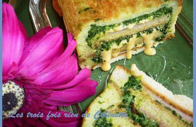 Croc cake à la courgette, chester et jambon