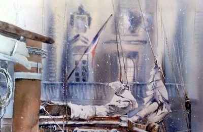 stage aquarelle Dominique Gioan peindre le ciel et la mer, les arbres dans le paysage pendant le festival aquarell'eure