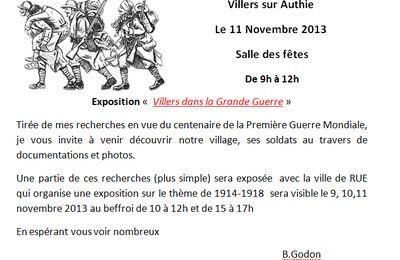 GUERRE 14:18: expo à Villers sur Authie