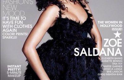 Zoe Saldana enceinte en couverture de Elle magazine novembre 2014
