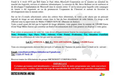 Attention: Escroquerie Microsoft Corporation