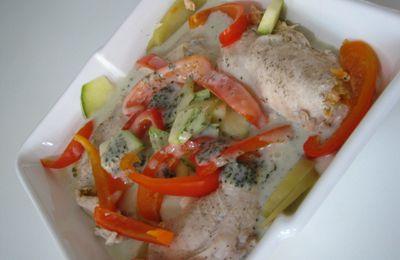 Suprêmes de poulet farcies et petits legumes