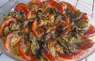 Gratin de tomates courgettes et mozzarella