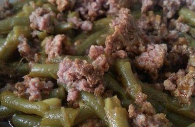 Plat en sauce, kefta et haricots verts