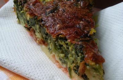 Flan au saumon fumé, épinards et pommes de terre