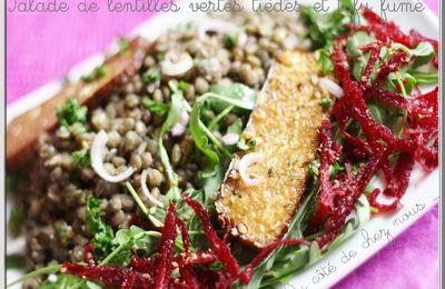 Salades de lentilles tièdes au tofu fumé ...