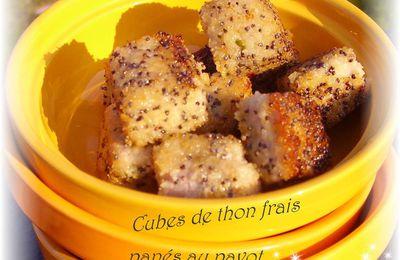 Cubes de thon frais panés au pavot