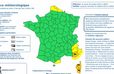 Meteo France place 3 départements en vigilance orange pluie/vent
