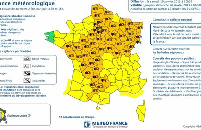 Meteo-France place 52 départements en vigilance orange neige