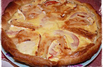 Tarte au saumon et au camembert gratinée