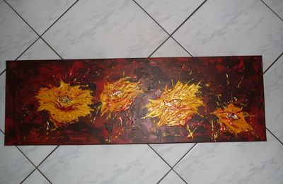 "Tableau abstrait ""Golden Flowers"""
