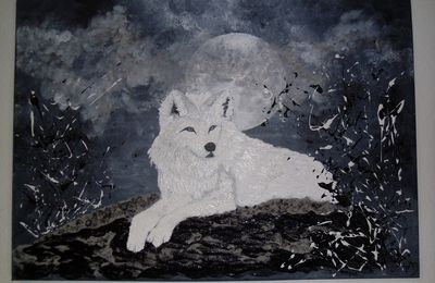 "Tableau contemporain ""White Wolf"""