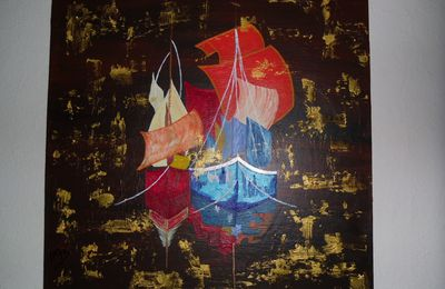 "Tableau contemporain ""Golden Ocean"""