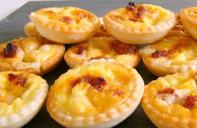 Mini quiches apéritives cantal chorizo