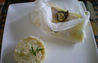 Papillotes de cabillaud aux poireaux et zestes de citron