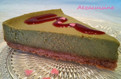Cheesecake pastel, biscuit rose de Reims / thé matcha (au thermomix)