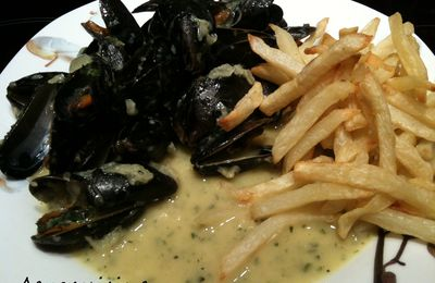 Moules au curry (au thermomix) et frites (à l'actifry)