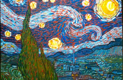 nuit audessus de st Rémi de provence libre interprétation de Van Ghog