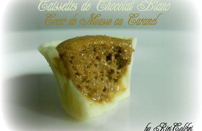 Caissettes de Chocolat Blanc, Coeur de Mousse Caramel