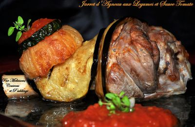 Lamb Shanks with Fried Vegetables and Tomato sauce