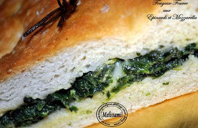 Stuffed Focaccia with Spinach and Mozzarella